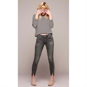 AMO Twist Zip Skinny Jeans in Smoke
